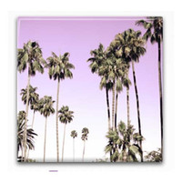 Beverly Hills California Pink Palm Trees Ceramic Photo Tile for Home Decor