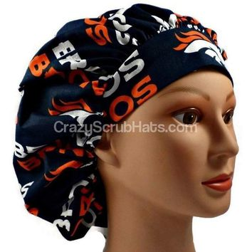 Women's Bouffant, Pixie, or Ponytail Surgical Scrub Hat Cap in Denver Broncos Navy