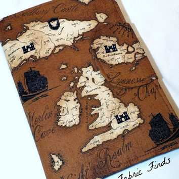 Brown Old World Map Sailing Ship eReader Cover Kindle Nook Cover Kobo Cover Kindle Fire Cover Kindle Touch Cover Made to Order