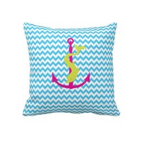 Chevron Pattern Anchor with Dolphin Pillow from Zazzle.com