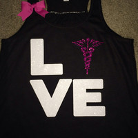 Love Nurse Tank - Nurse Symbol - Ruffles with Love - Fun Tank