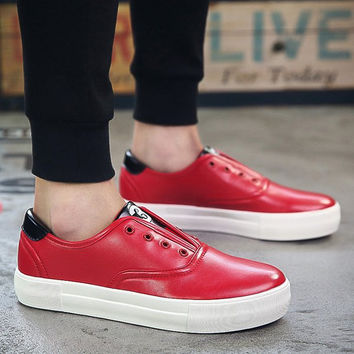 Casual Shoes With Colour Splicing and Eyelet Design