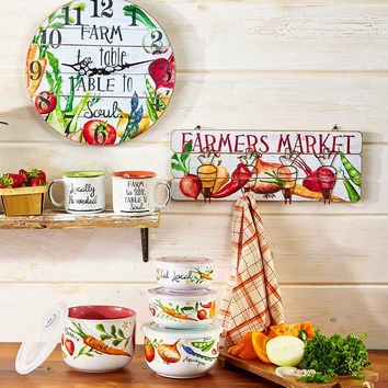 Farm Kitchen Accents Wall Hook Clock Container Set Farmhouse Country Decor