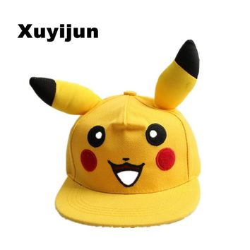 Cute Lovely Pokemon GO  Pikachu Flat Snapback Caps Hat