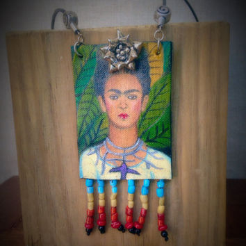 Frida Kahlo Hand painted Necklace, Frida Pendant Necklace, Fashion Jewelry, Frida art, Wearable art, Frida Necklace,