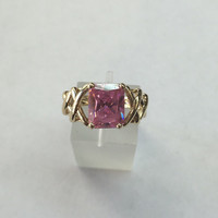 10k yellow gold pink CZ ring