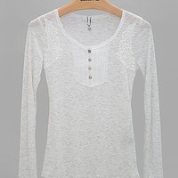 BKE Boutique Metallic Henley Top