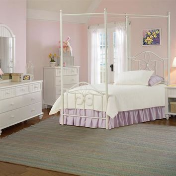 1354-westfield-canopy-bed-full-rails-nightstand-dresser-mirror-and-chest - Free Shipping!