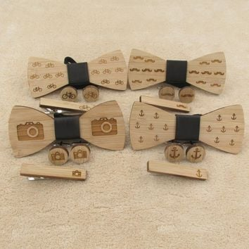 Wooden bow Tie set of Cufflink tie clip Camera Mustache Anchor Bike Necktie Cravate Bowtie