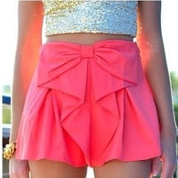 BOWKNOT SHORTS SHOW THIN SOLID COLOR SWEET HOT SHORTS