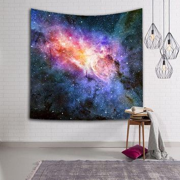 Colorful Tapestry Psychedelic Celestial Space Star Tapestry Wall Hanging Throw Bohemian Door Curtain Beach Towel