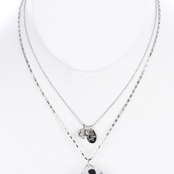Black Double Layered Chain Dice Charm Bib Necklace