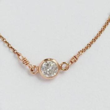 Diamond Circle Necklace, Cubic Zirconia Necklace - Dainty Cz Choker Necklace - Minimalist Necklace in Gold, Rose Gold, and Silver