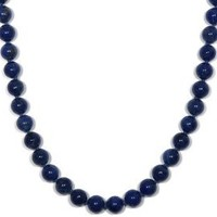 """Sterling Silver 8mm Lapis Lazuli Bead Necklace, 24"""""""