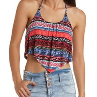 Tribal Print Flounce Halter Crop Top by Charlotte Russe