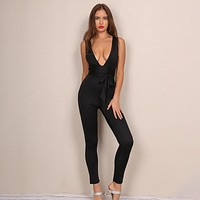 Sexy Bodycon Jumpsuit Romper Summer V Neck Casual Long Playsuits Women Outfit Overalls Jumpsuit