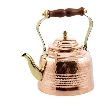 Solid Copper Hammered Tea Kettle with Brass Spout and Wood Handle by Old Dutch International