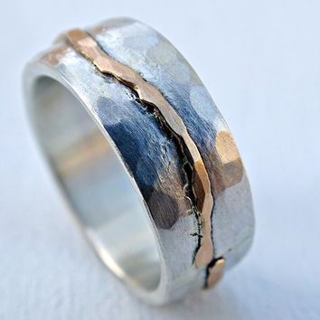 rustic wave ring gold silver, cool wedding band for men, bold mens ring hammered, viking wedding band beach, celtic engagement ring men