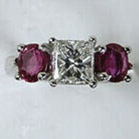 2.47ct F-VVS2 Princess Cut Diamond Ruby Engagement Ring GIA certified JEWELFORME BLUE