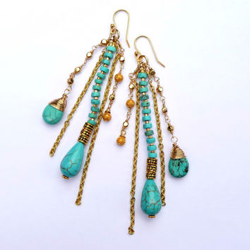 Turquoise Howlite Gold Chains Fringe Boho Earrings - Long Fringe Shoulder Duster Wire Wrapped Gemstone Earrings