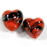 Coral Handmade Lampwork Glass Heart Beads Black Webs Orange Shiny