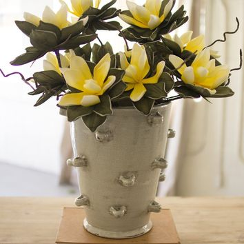 Tall Ceramic Vase With Detail ~ Grey