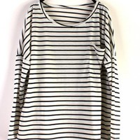 Women Loose Long Sleeve Big Pocket Euro Style Stripe Black Cotton T-Shirt One Size@SX0018b $12.19 only in eFexcity.com.
