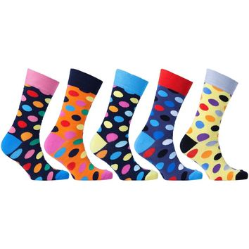 Men's 5-Pair Funky Polka Dot Socks-3011