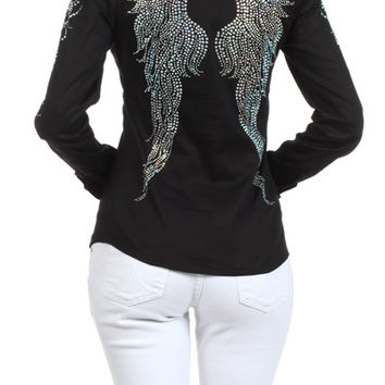 Plus Size Rhinestone Popline Button Down Long Sleeve Shirt
