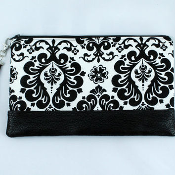 Black and white damask clutch, faux leather accent bag, date night clutch, hand purse, zippered pouch, bridesmaid clutch.