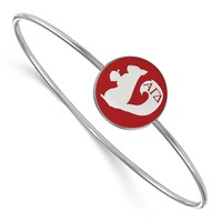 925 Rhodium Flashed Silver Red Enamel Alpha Gamma Delta Bangle Bracelet