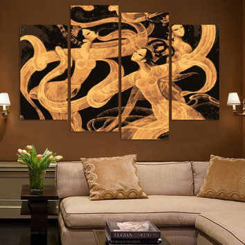 New Arrival! MODERN ABSTRACT OIL PAINTING CANVAS ART Abstract Figures Golden Decoration Oil Painting A026