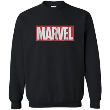 Marvel Classic Distressed Logo Graphic  Printed Crewneck Pullover Sweatshirt