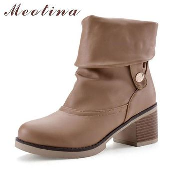 Meotina Women Boots Chunky Heels Ladies Ankle Boots Large Size 34-43 Female Autumn Sho