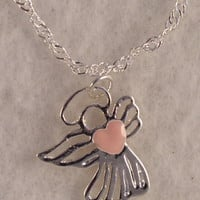 GirlNkSS07 Sterling Silver Angel with Pink Enamel Heart
