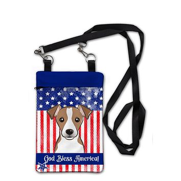 American Flag and Jack Russell Terrier Crossbody Bag Purse BB2190OBDY