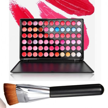 Fashion Ladies Women 66 Color Makeup Lip Gloss Palette Cosmetic With Powder Brush