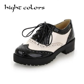 2017 New Retro Color Leather Lace Round With College Students Shoes Vintage Work Oxford Shoes For Women Plus Size 43 Shoes Woman