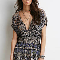 Abstract Print Surplice Romper