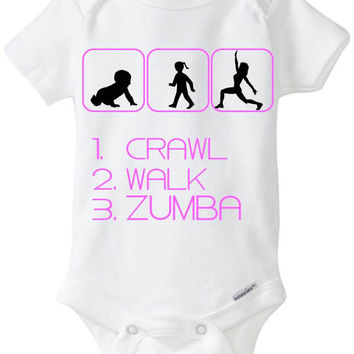 Crawl Walk Zumba - Funny Silhouette Baby Gift: Gerber Onesuits brand body suit - Perfect new baby gift for zumba Moms!