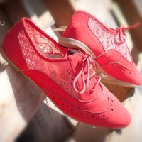 Qupid Salya-630 Nucbuck Lace Up Perforated Oxford Flat (Coral) - Shoes 4 U Las Vegas