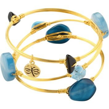 Crystal Wire Bangle Set of Three Turquoise Agate Crystal Quartz and Glass Stones