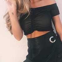 Sexy Off Shoulder Black Top Tees Fashion Lace Up Crop Tops Female Streetwear Slim Elastic Party Cropped Tops