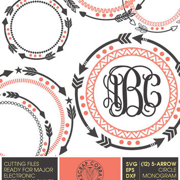 12 Tribal 5-Arrow Circle Monogram Frames - SVG, eps, DXF, png - Cut Files for Silhouette, Cricuit, other electronic cutting machines CV-408