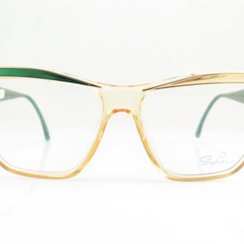 Saphira , Vintage Eyeglasses , Green Gold and Transparent Yellow , Avant-Garde , Cat Eye , Kitty , Nos , eyeglass Frames , Cat eyeglasses