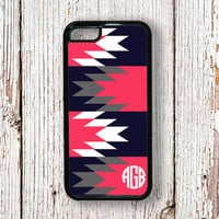 Iphone 5c case, monogrammed Iphone 5s case iPhone 4 case - Aztec design in pink, navy blue - Iphone 4s case protective iPhone 5 case (1289)