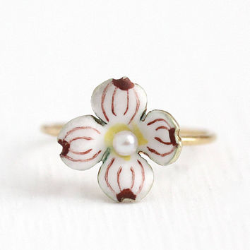 Antique Dogwood Ring - Vintage 1900s Edwardian 14k Yellow Gold Band Enamel Flower - Size 6 1/2 Stick Pin Conversion Fine Rare Pearl Jewelry