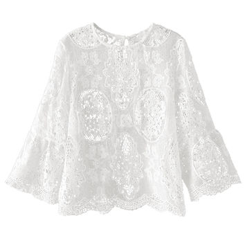 White 3/4 Sleeve Sheer Lace Blouse