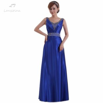 LANSITINA Satin Floor-Length Bridesmaid Gown Cheap A-Line Beading Pleat Zipper Back Party Prom Dresses Junior Bridesmaid Dresses