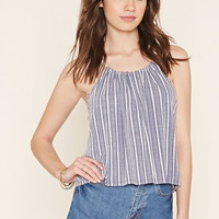 Striped Self-Tie Trapeze Top